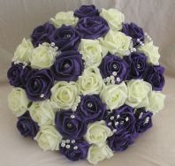 WEDDING FLOWERS ARTIFICIAL FLOWERS PURPLE/IVORY FOAM ROSE BRIDE WEDDING BOUQUET